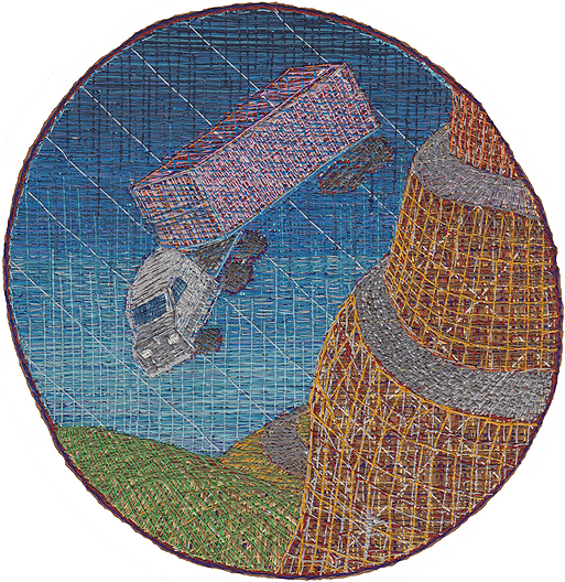 Chuck Jones, Falling Truck, 2012, Embroidery on Cotton