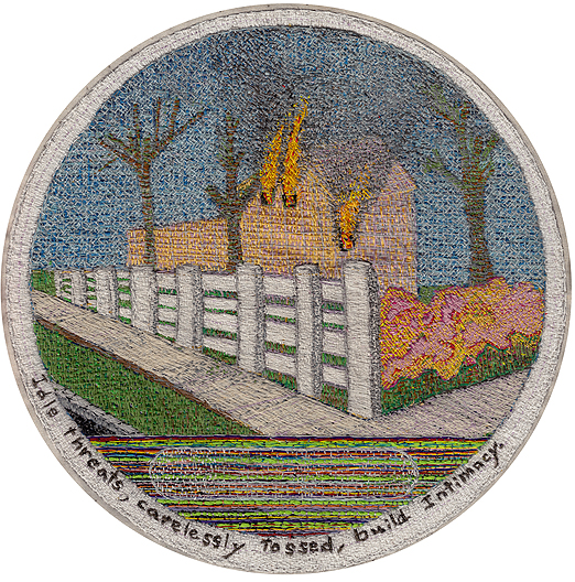 Chuck Jones, Idle Threats Carelessly Tossed Build Intimacy, Embroidery on Cotton, 2014