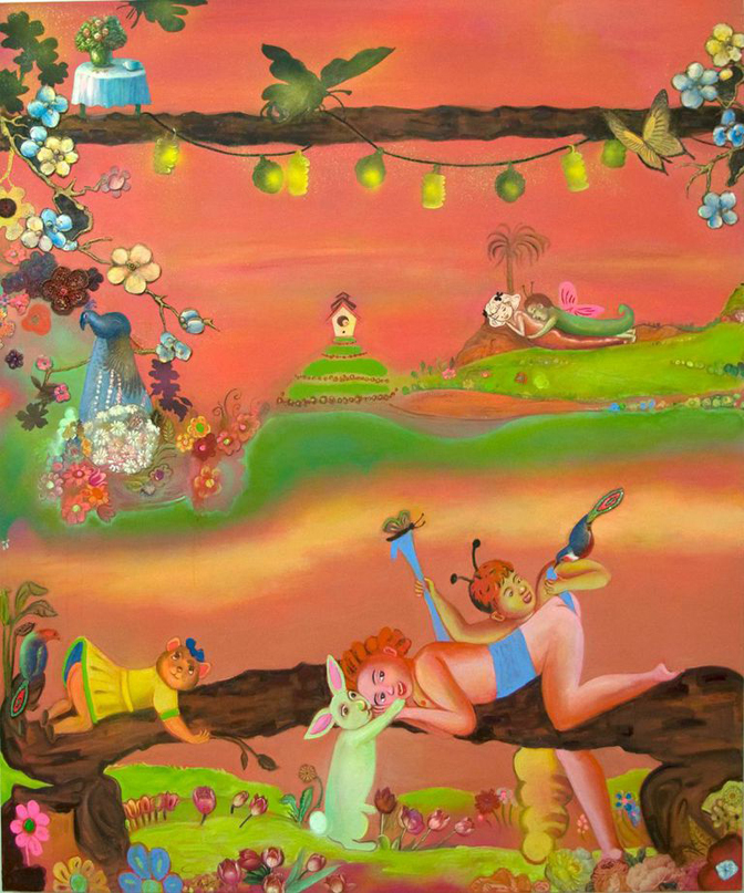 "Phyllis Bramson, Courtship Rituals (happiness, even after), 72"" × 60"" mixed media on canvas, 2006"