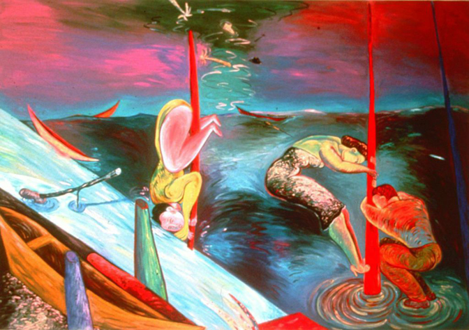 "Phyllis Bramson, Shipwrecked, 72"" × 96"" oil on canvas , 1987"