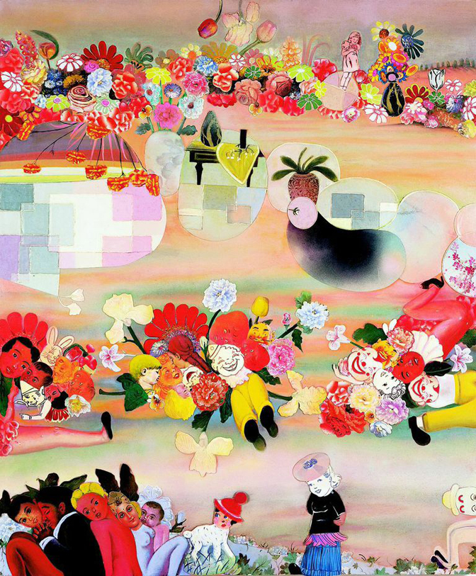 "Phyllis Bramson, What Went Wrong?, 70"" × 50"" mixed media on canvas, 2004"