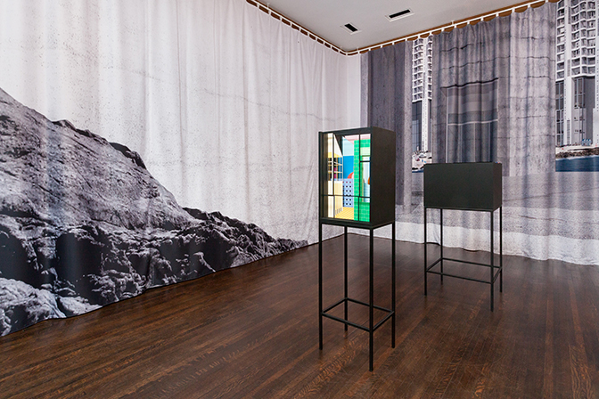"View of ""Spaces without drama or surface is an illusion, but so is depth,"" 2017, Graham Foundation, Chicago. Photo by: RCH 