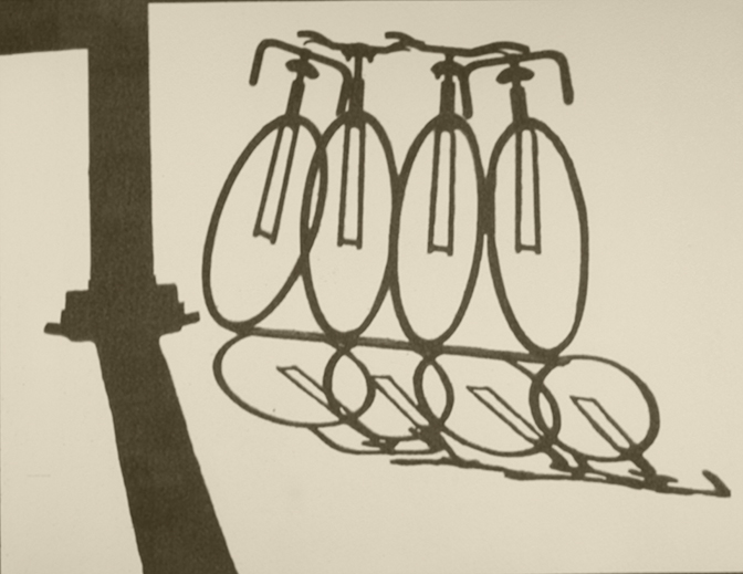 Barbara Eberhard, Bicycles, gum bichromate on paper, 2017