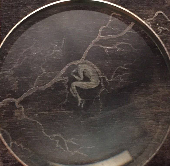 Jeffrey Sevener, piece with magnifying glass, 2017