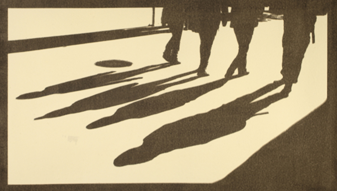 Barbara Eberhard, Four Walkers, gum bichromate on paper, 2017