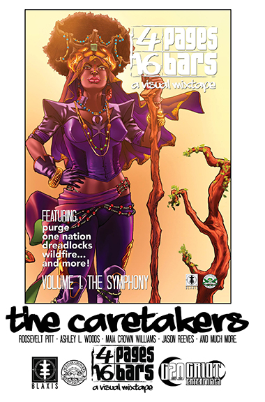 """The Caretakers"" 4 Pages 16 Bars: A Visual Mixtape promotional poster • 14.5"" X 22"" • Adobe InDesign • 2018"